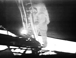 Still image from the famous video that the camera captured of Neil Armstrong stepping onto the lunar surface.